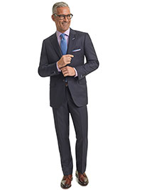 MEN'S TRADITIONAL CUSTOM SUIT                                                                                                                                                                                                                             , Navy Herringbone