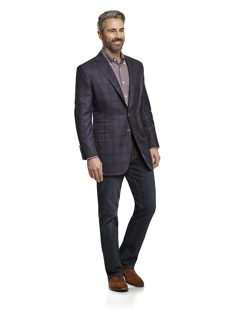 Jacket & Jeans                                                                                                                                                                                                                                            , Super 140's Wool - Navy & Brown Plaid