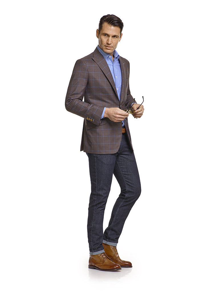 Jacket & Jeans                                                                                                                                                                                                                                            , Super 120's Wool - Rustic Brown Windowpane