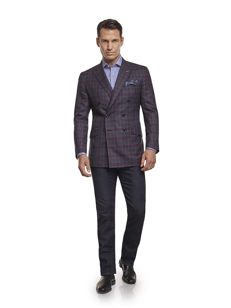 Jacket & Jeans                                                                                                                                                                                                                                            , Super 140's Wool - Blue Gray Plaid