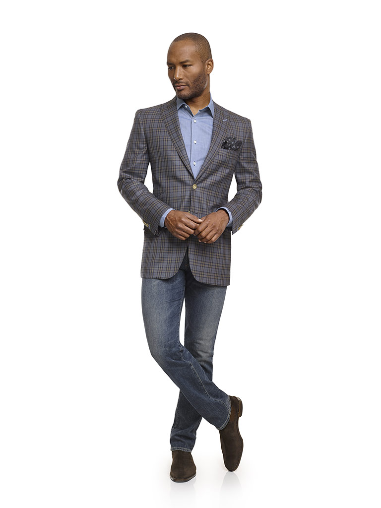 Jacket & Jeans                                                                                                                                                                                                                                            , Super 100's Wool - Taupe Gray Windowpane Check