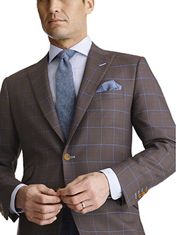 Custom Super 120's Wool - Rustic Brown Windowpane