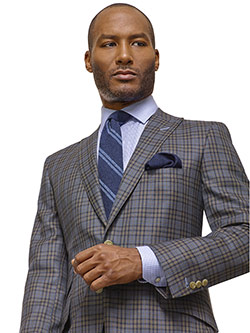 Custom Super 100's Wool - Taupe Gray Windowpane Check