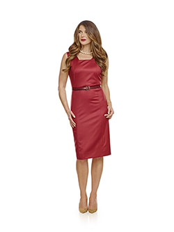 July 2017 Ladies Collection                                                                                                                                                                                                                               , Super 120's Red Plain Dress