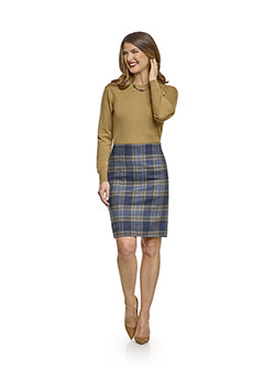 July 2017 Ladies Collection                                                                                                                                                                                                                               , 100% Wool, Blue Plaid Skirt