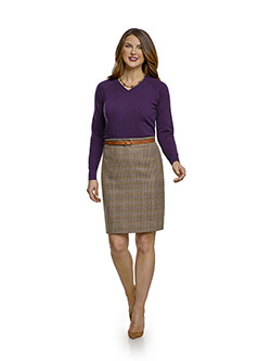 July 2017 Ladies Collection                                                                                                                                                                                                                               , 100% Wool, Tan & Olive Plaid Skirt
