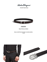 Ferragamo Fall 2017                                                                                                                                                                                                                                       , Gancio Nickel Calfskin Reversible Belt by Ferragamo