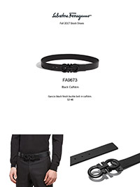 Ferragamo Fall 2017                                                                                                                                                                                                                                       , Gancio Black Beckle Calfskin Belt by Ferragamo