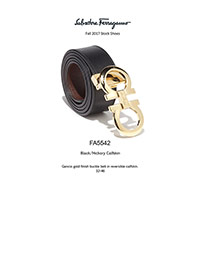 Ferragamo Fall 2017                                                                                                                                                                                                                                       , Gancio Gold Calfskin Reversible Belt by Ferragamo