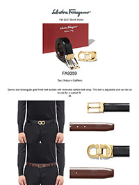Ferragamo Fall 2017                                                                                                                                                                                                                                       , Gancio & Rectangular Gold Calfskin Reversible Belt by Ferragamo