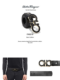 Ferragamo Fall 2017                                                                                                                                                                                                                                       , Gancio Enamel & Gold Calfskin Reversible Belt by Ferragamo