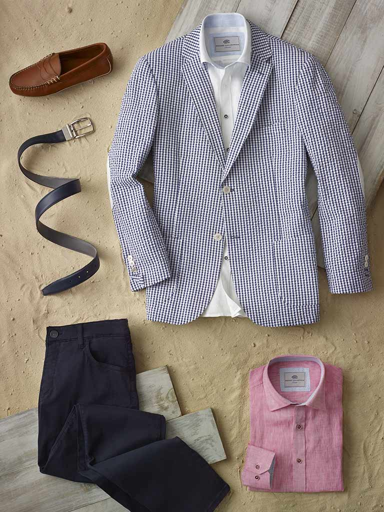 Sport Coat by Tom James & Sport Shirt by Report