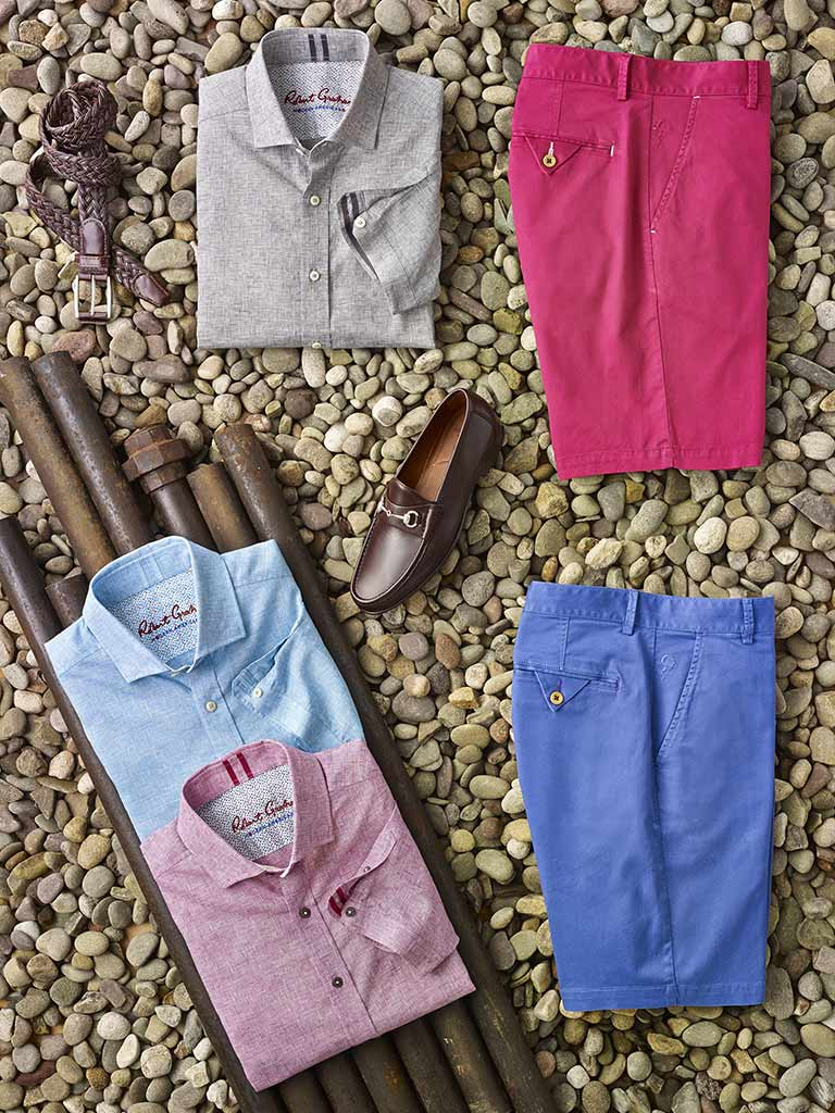 Short Sleeve Parquet Sport Shirts & Shorts by Robert Graham