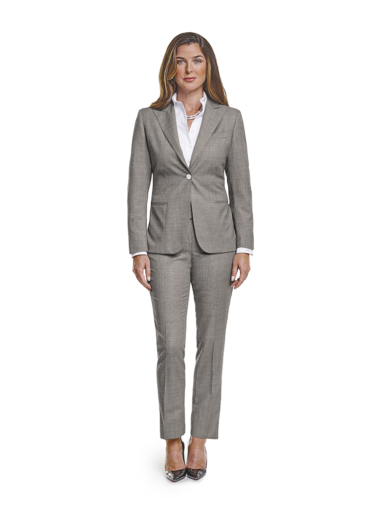 Super 120 S Black And White Birdseye Made To Measure Ladies Suit