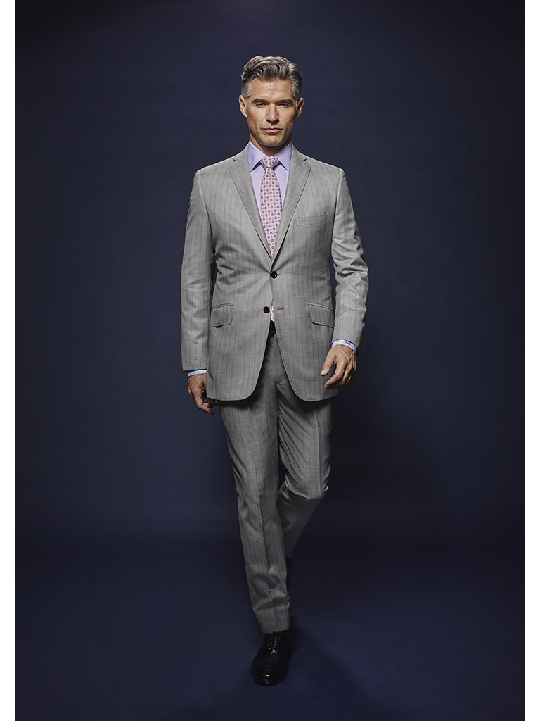 Silver Gray Tonal Asymetric Stripe - Holland & Sherry Dragonfly Supreme - Oxxford Hand Tailored Bespoke Suit