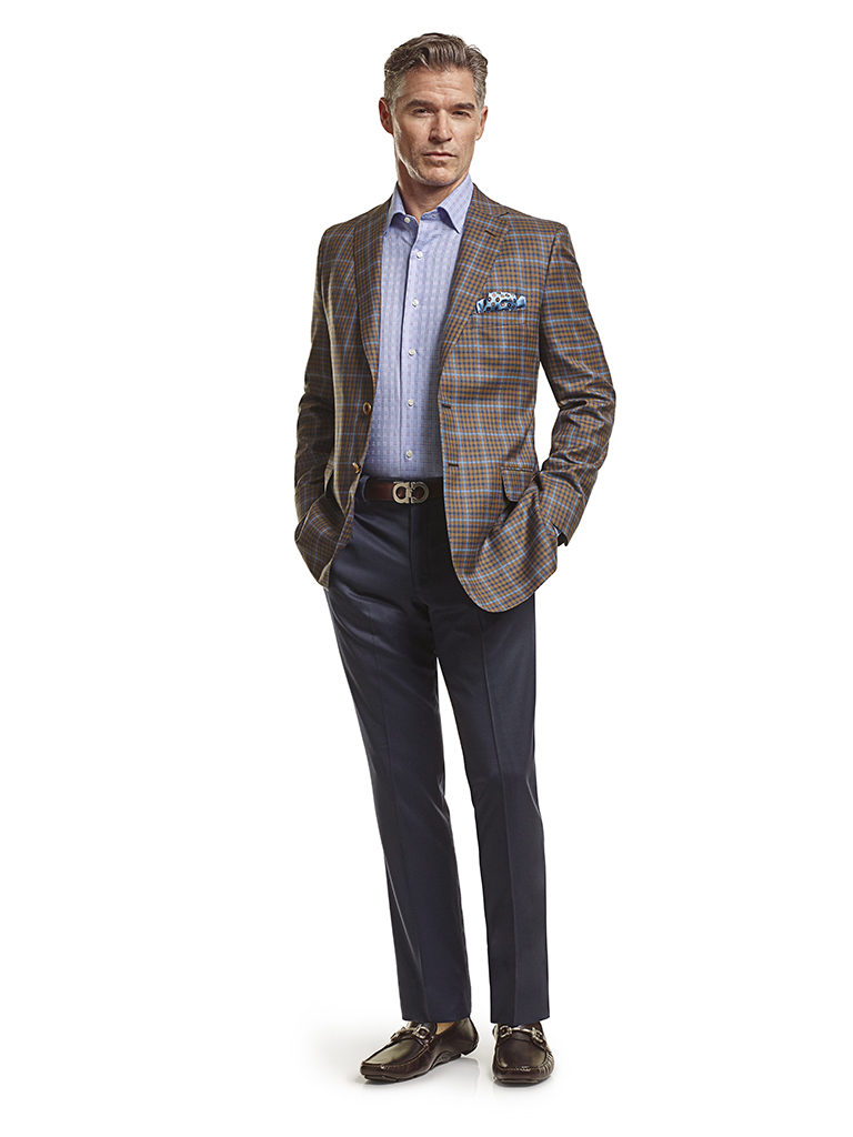 Silk Mahogany & Navy Windowpane Check - Made-To-Measure Sport Coat