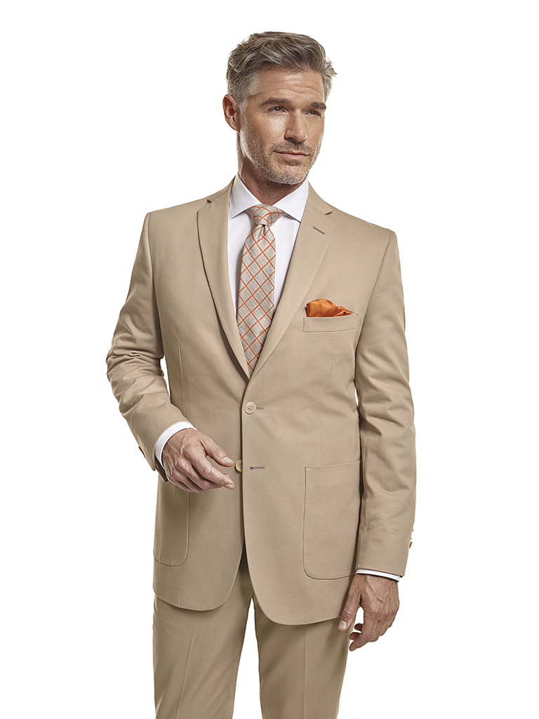 100% Cotton Khaki Plain - Made-To-Measure Suit