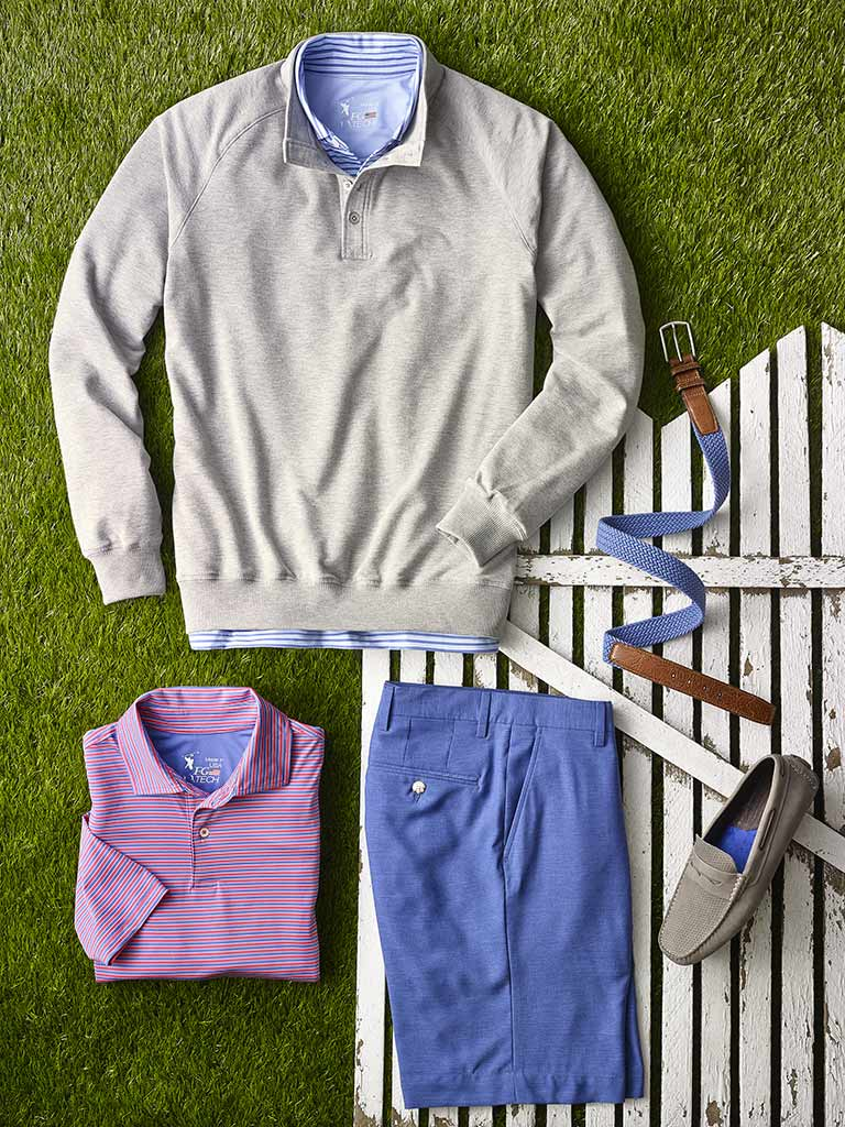 Sportswear Lookbook                                                                                                                                                                                                                                       , Knit Polos and Sweater by Fairway & Greene