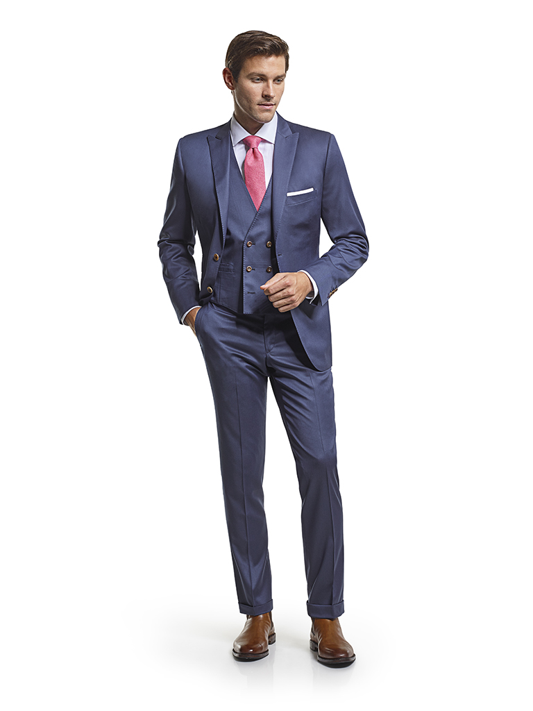 Men's Modern Custom Suit Gallery                                                                                                                                                                                                                          , Super 130's French Blue Plain - Platinum Made-To-Measure 3-Piece Suit
