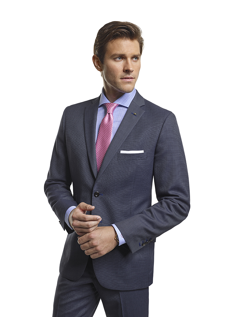Men's Modern Custom Suit Gallery                                                                                                                                                                                                                          , Super 100's Smoke Blue Tic Weave - Made-To-Measure Suit