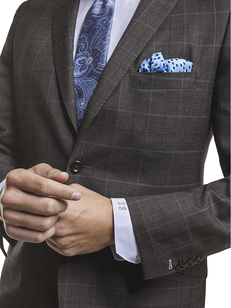 Men's Modern Custom Suit Gallery                                                                                                                                                                                                                          , Super 120's Charcoal Windowpane - Made-To-Measure Suit & Craft Stitching