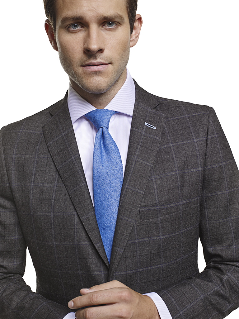 Men's Modern Custom Suit Gallery                                                                                                                                                                                                                          , Super 120's Charcoal Windowpane - Custom Suit & Craft Stitching