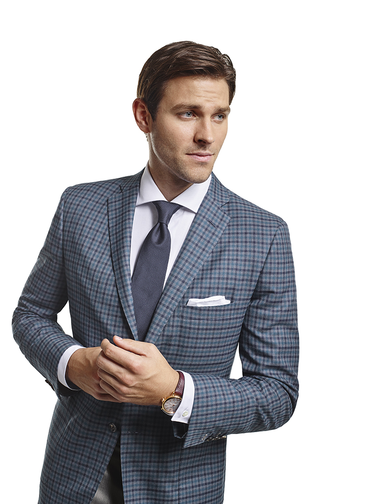 Men's Modern Custom Suit Gallery                                                                                                                                                                                                                          , Super 140's Gray & Teal Windowpane Check - Made-To-Measure Sport Coat & Trousers