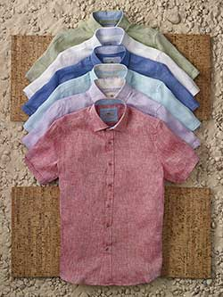 Custom Short Sleeve Linen Sport Shirts by Report