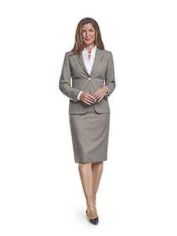 Custom Super 120's Black and White Birdseye - Custom Ladies Skirt Suit