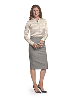 Ladies Custom Suits, Custom Dresses & Custom Skirt Gallery                                                                                                                                                                                                , Super 120's Black and White Birdseye - Custom Skirt & Day Birger Blouse