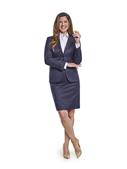 Ladies Custom Suits, Custom Dresses & Custom Skirt Gallery                                                                                                                                                                                                , Super 120's Plum Navy Melange - Custom Skirt Suit