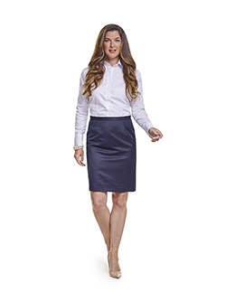 Ladies Custom Suits, Custom Dresses & Custom Skirt Gallery                                                                                                                                                                                                , Super 120's Plum Navy Melange - Made-To-Measure Skirt & Custom Ladies Dress Shirt