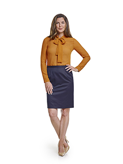 Ladies Custom Suits, Custom Dresses & Custom Skirt Gallery                                                                                                                                                                                                , Super 120's Plum Navy Melange - Custom Skirt & Day Birger Blouse