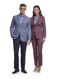 Ladies Custom Suits, Custom Dresses & Custom Skirt Gallery                                                                                                                                                                                                , Super 120's Aubergine Plain - Ladies Custom Suit & Custom Dress Shirt