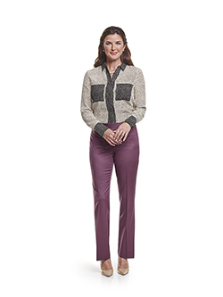 Custom Super 120's Aubergine Plain - Custom Ladies Pant & Day Birger Blouse