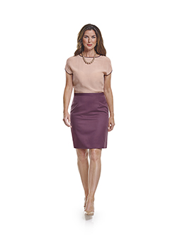 Custom Super 120's Aubergine Plain - Custom Skirt & Day Birger Top