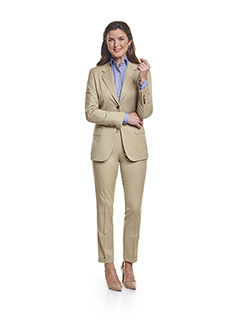 Ladies Custom Suits, Custom Dresses & Custom Skirt Gallery                                                                                                                                                                                                , Super 140's Light Tan Gabardine - Women's Made-To-Measure Suit