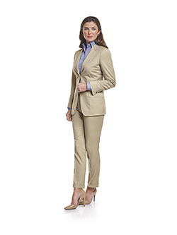 Ladies Custom Suits, Custom Dresses & Custom Skirt Gallery                                                                                                                                                                                                , Super 140's Light Tan Gabardine - Ladies Made-To-Measure Suit