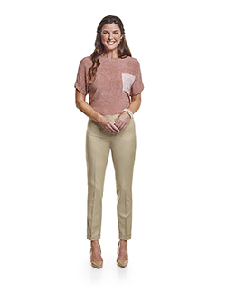 Ladies Custom Suits, Custom Dresses & Custom Skirt Gallery                                                                                                                                                                                                , Super 140's  Light Tan Gabardine - Custom Ladies Pant & Day Birger Top