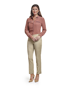Ladies Custom Suits, Custom Dresses & Custom Skirt Gallery                                                                                                                                                                                                , Super 140's  Light Tan Gabardine - Custom Ladies Trousers & Day Birger Top