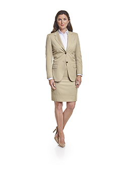 Ladies Custom Suits, Custom Dresses & Custom Skirt Gallery                                                                                                                                                                                                , Super 140's  Light Tan Gabardine - Made-to-Measure Jacket & Skirt