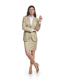 Ladies Custom Suits, Custom Dresses & Custom Skirt Gallery                                                                                                                                                                                                , Super 140's  Light Tan Gabardine - Custom Jacket & Custom Skirt Suit