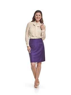 Custom Super 100's Purple Plain - Made-To-Measure Skirt & Day Birger Blouse
