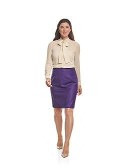 Custom Super 100's Purple Plain - Custom Skirt & Day Birger Blouse