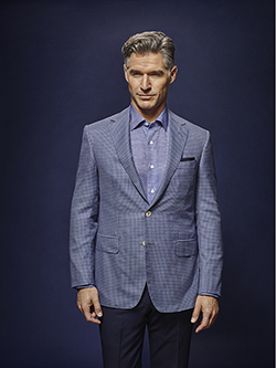 Men's Luxury Bespoke Suit Gallery                                                                                                                                                                                                                         , Blue and Navy Mini Check - Oxxford Hand Made Custom Suit