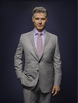 Custom Silver Gray Tonal Asymetric Stripe - Holland & Sherry Dragonfly Supreme - Oxxford Hand-Made Bespoke Suit