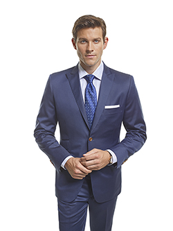Men's Modern Custom Suit Gallery                                                                                                                                                                                                                          , Super 130's French Blue Plain - Platinum Made-To-Measure Suit