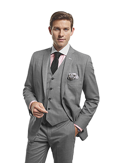 Men's Modern Custom Suit Gallery                                                                                                                                                                                                                          , Super 140's Gray Sharkskin - H&S Mille Miglia - Custom 3-Piece Suit