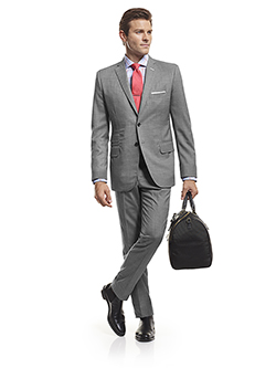 Men's Modern Custom Suit Gallery                                                                                                                                                                                                                          , Super 140's Gray Sharkskin - H&S Mille Miglia - Custom Suit