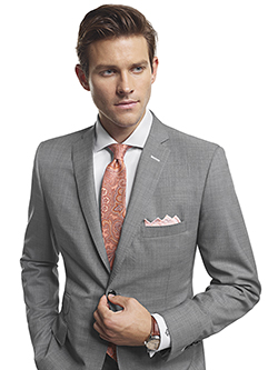 Men's Modern Custom Suit Gallery                                                                                                                                                                                                                          , Super 140's Gray Sharkskin - H&S Mille Miglia - Made-To-Measure Suit